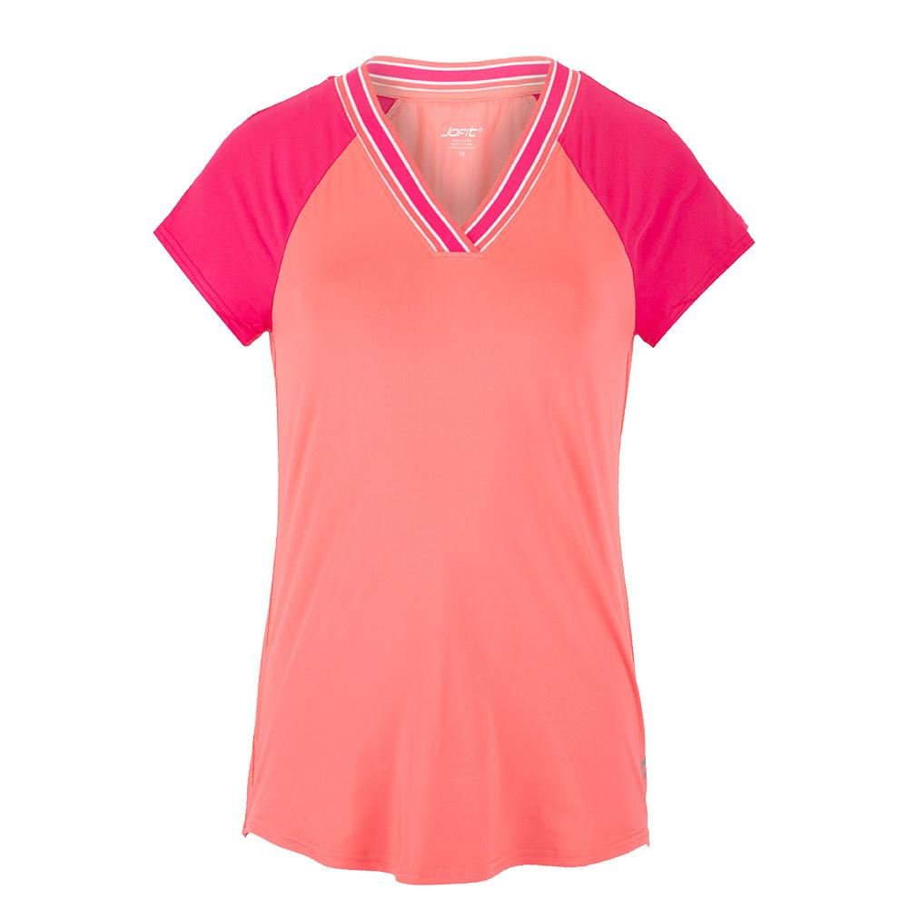 Women's V- Neck Rib Tennis Top