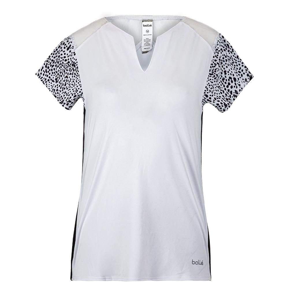 Women's Serengeti Cap Sleeve Tennis Top White And Print