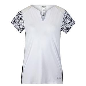 Women`s Serengeti Cap Sleeve Tennis Top White and Print