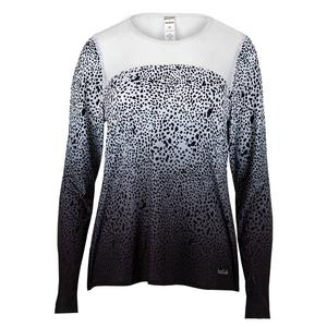 Women`s Serengeti Long Sleeve Tennis Top Print and White
