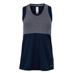 Women`s High Society Racerback Tennis Tank Navy and Print