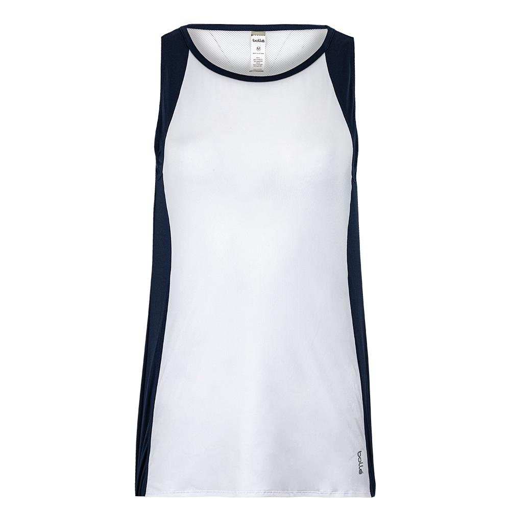 Women's High Society Tennis Tank White And Navy