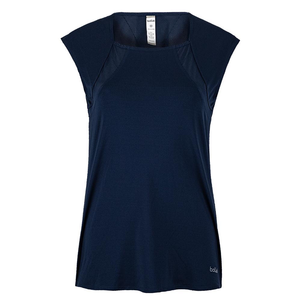 Women's High Society Cap Sleeve Tennis Top Navy