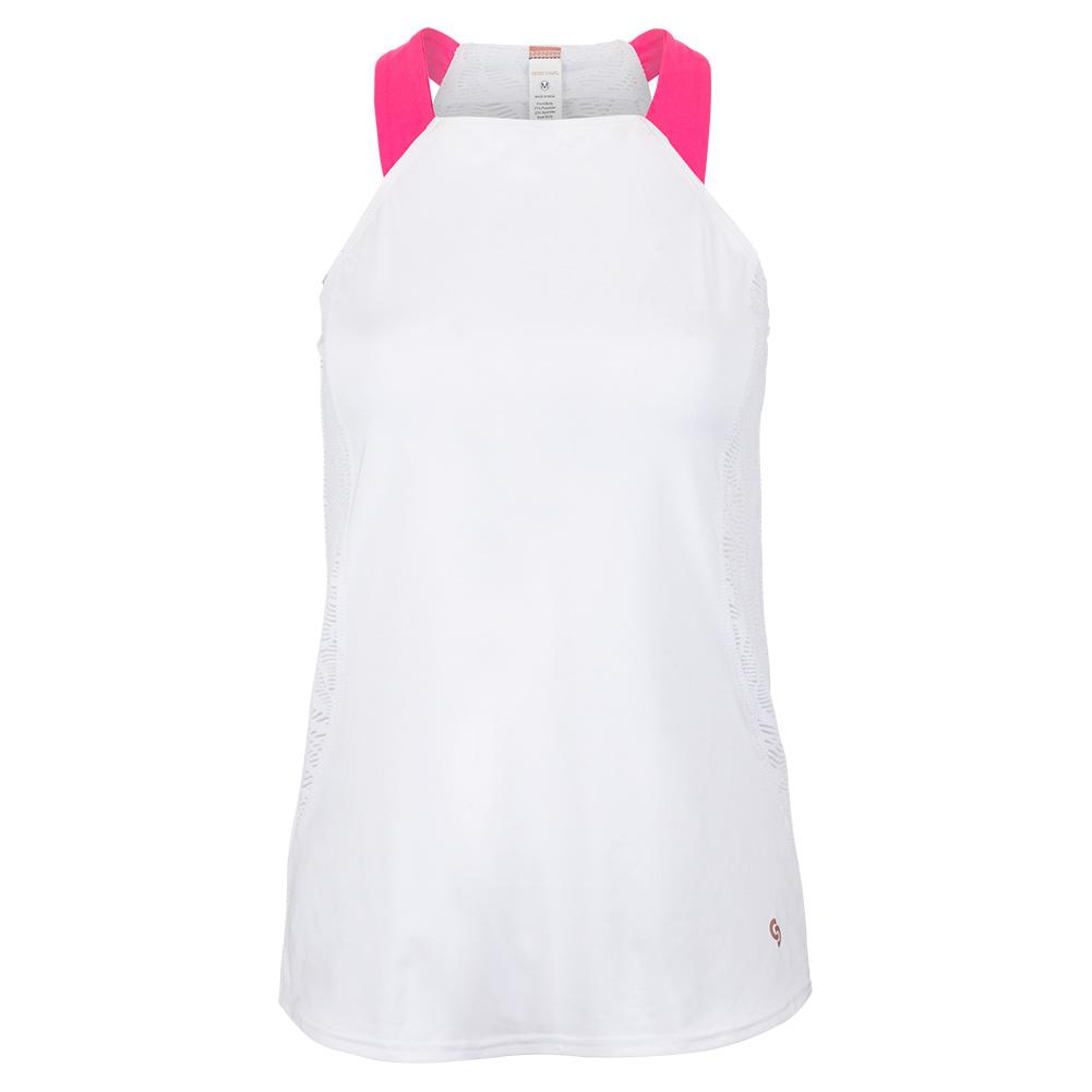 Women's Neon Lace Racerback Tennis Tank White And Knockout Pink