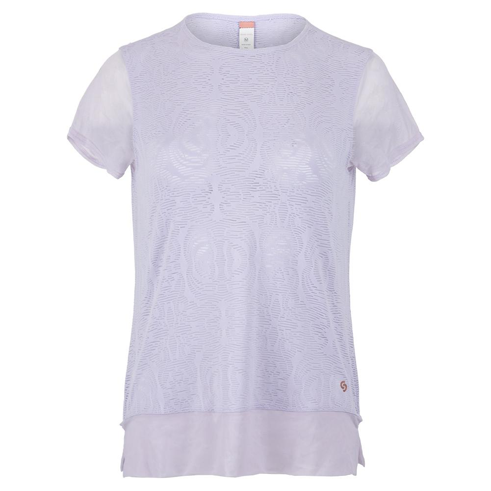 Women's Neon Lace Cap Sleeve Tennis Top Thistle
