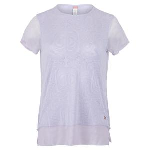 Women`s Neon Lace Cap Sleeve Tennis Top Thistle