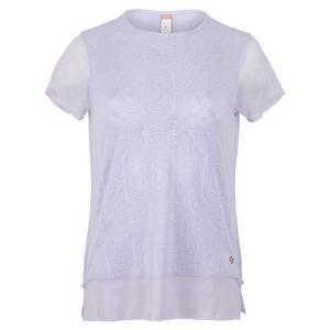 Women`s Neon Lace Cap Sleeve Tennis Top Thistle