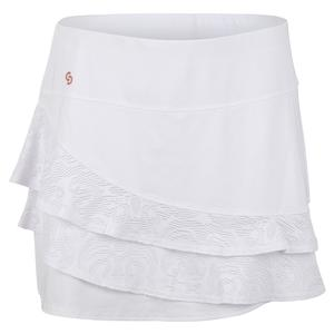 Women`s Neon Lace Tennis Skort White