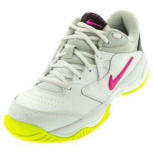 Women`s Court Lite 2 Tennis Shoes White and Laser Fuchsia