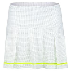 Women`s Long Micro Tuck Pleat Tennis Skort Neon Yellow