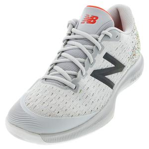 Women`s 996v4 D Width Tennis Shoes Gray and Neo Flame