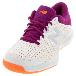 Women`s 696v4 D Width Tennis Shoes White and Mulberry