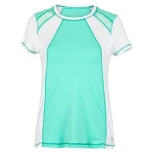 Women`s Short Sleeve Tennis Top Sea Breeze Pique and White