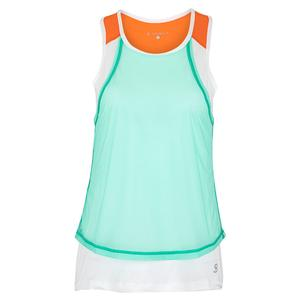 Women`s Overlay Tennis Tank Sea Breeze Pique and White