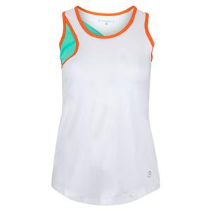Women`s High Neck Tennis Top White and Sea Breeze Pique