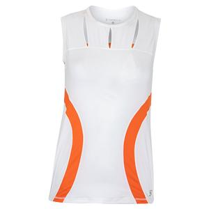 Women`s Sleeveless Tennis Top White and Nectarine