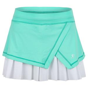 Women`s 14 Inch Tennis Skort Sea Breeze Pique and White
