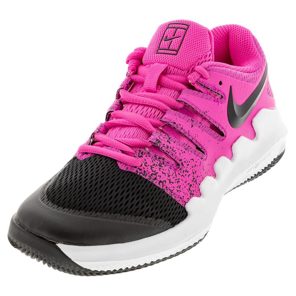 Juniors ` Court Vapor X Tennis Shoes Laser Fuchsia And Black