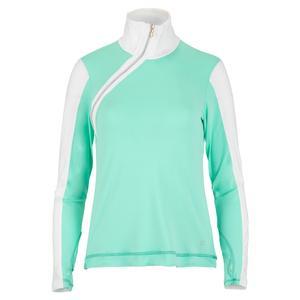 Women`s Long Sleeve Side Zip Tennis Top Sea Breeze Pique and White