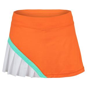 Women`s 12 Inch Tennis Skort Nectarine and White