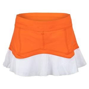 Women`s 13 Inch Tennis Skort Nectarine and White