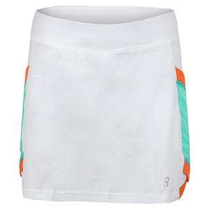 Women`s 15 Inch Tennis Skort White and Sea Breeze Pique