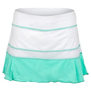 Women`s 13 Inch Tennis Skort White and Sea Breeze Pique