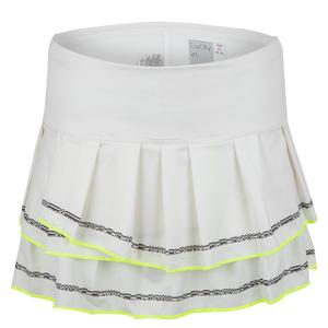 Women`s Micro Stripe Tennis Skort White and Charcoal Detail