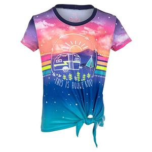 Girls` Print Tie Knot Tennis Top