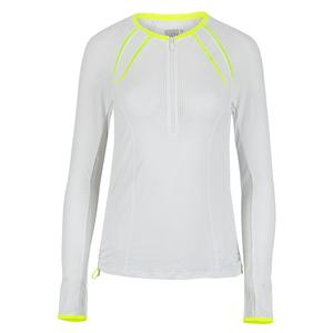 Women`s Raglan Zip Long Sleeve Tennis Top White and Neon Yellow