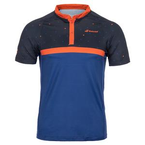 Boys` Compete Tennis Polo Black and Estate Blue