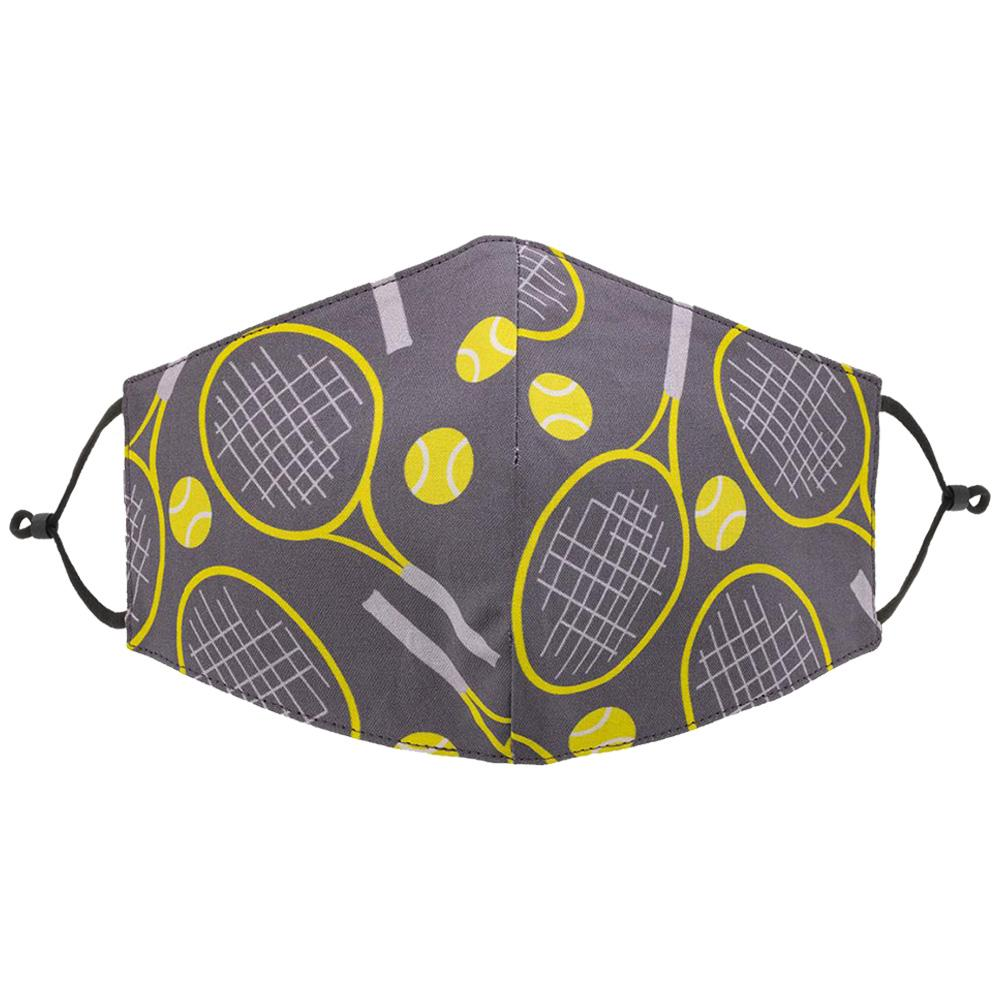 Reversible Tennis Face Mask Grey And Yellow Racquets