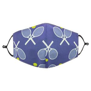 Reversible Tennis Face Mask Blue and White Racquets