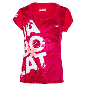 Girls` Exercise Graphic Tennis Tee Red Rose