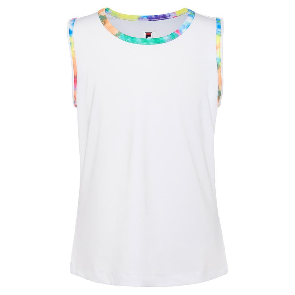 Girls ` Full Back Tennis Tank White And Tie Dye