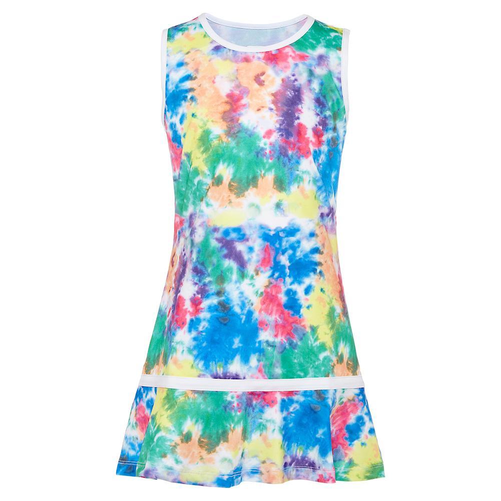 Girls ` Tennis Dress Tie Dye And White