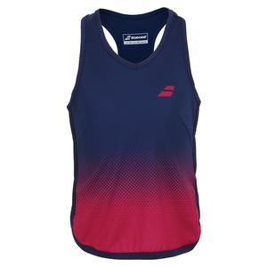Girls` Compete Tennis Tank Top Estate Blue and Vivacious Red