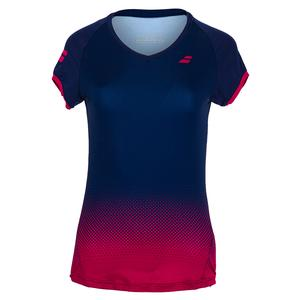 Women`s Compete Cap Sleeve Tennis Top Estate Blue and Vivacious Red