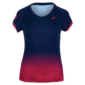 Girls` Compete Cap Sleeve Tennis Top Estate Blue and Vivacious Red