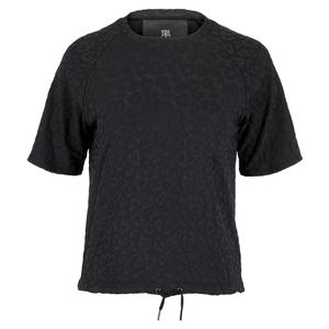 Women`s Catherine Cap Sleeve Tennis Top Onyx Leopard