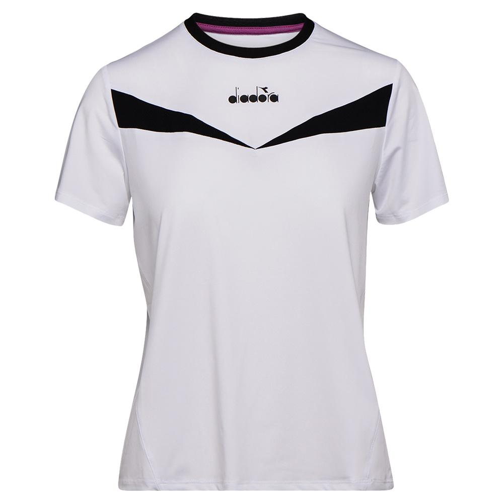 Women's Short Sleeve Tennis Top Optical White And Black