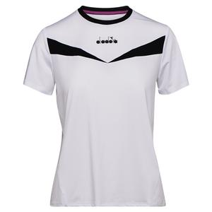 Women`s Short Sleeve Tennis Top Optical White and Black