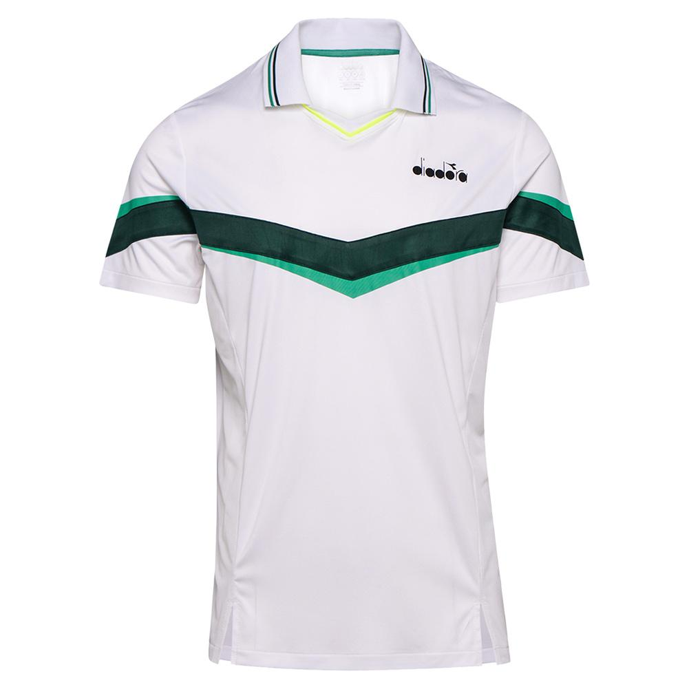 Men's Short Sleeve Tennis Polo White And Holly Green