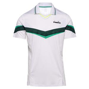Men`s Short Sleeve Tennis Polo White and Holly Green