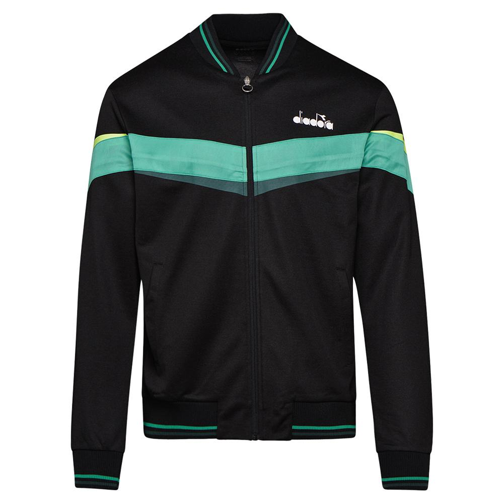 Men's Full Zip Tennis Jacket Black And Holly Green