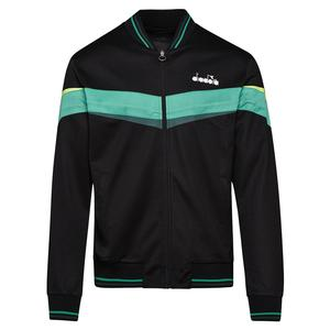 Men`s Full Zip Tennis Jacket Black and Holly Green
