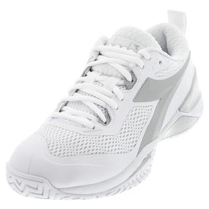 Women`s Speed Blueshield 4 AG Tennis Shoes White and Silver