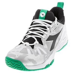 Men`s Speed Blushield Fly 2 AG Tennis Shoes White and Holly Green