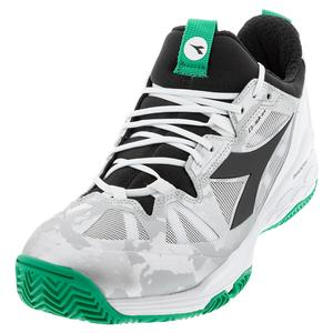 Men`s Speed Blushield Fly 2 Clay Tennis Shoes White and Holly Green