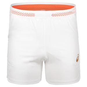 Men`s 7 Inch Tennis Short Brilliant White and Sunset Red